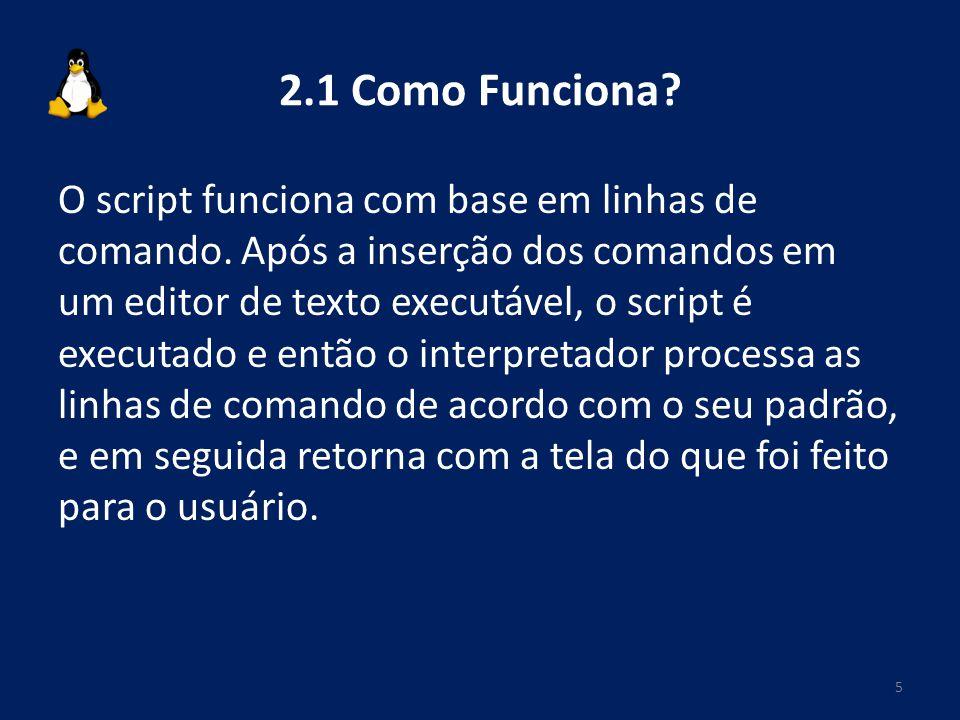 2.1 Como Funciona? O script funciona com base em linhas de comando. Após a inserção dos comandos em um editor de texto executável, o script é executad
