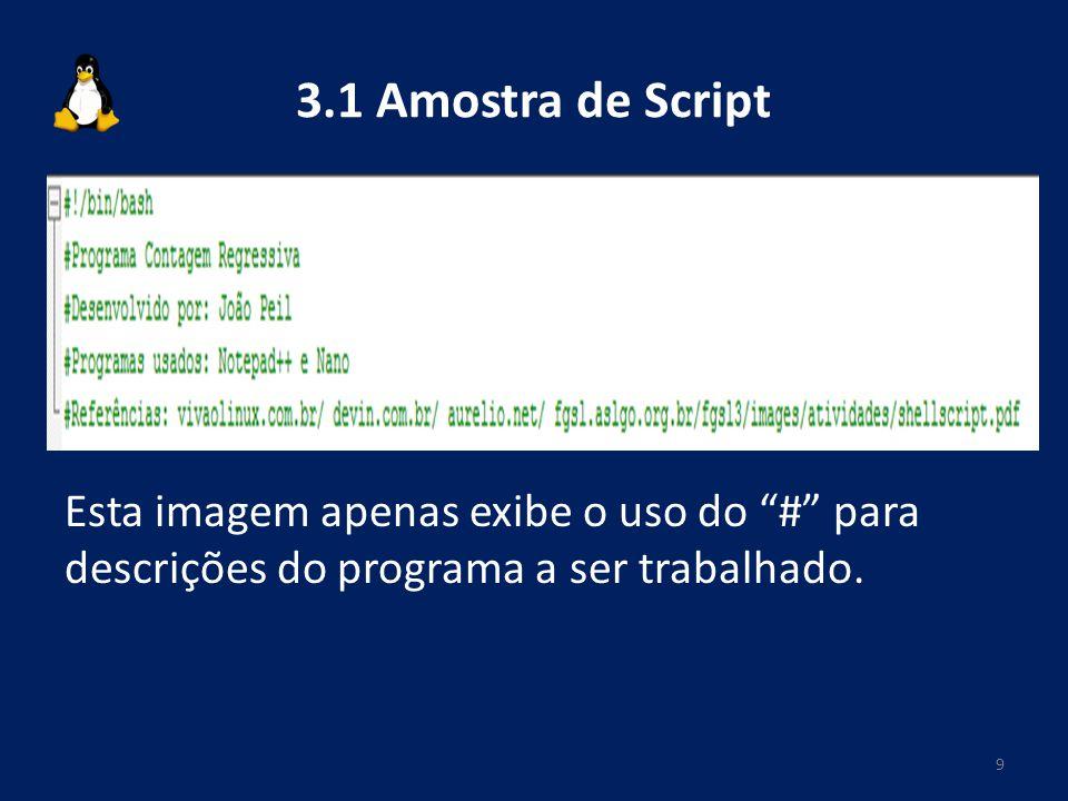 3.1 Amostra de Script Esta imagem apenas exibe o uso do # para descrições do programa a ser trabalhado. 9