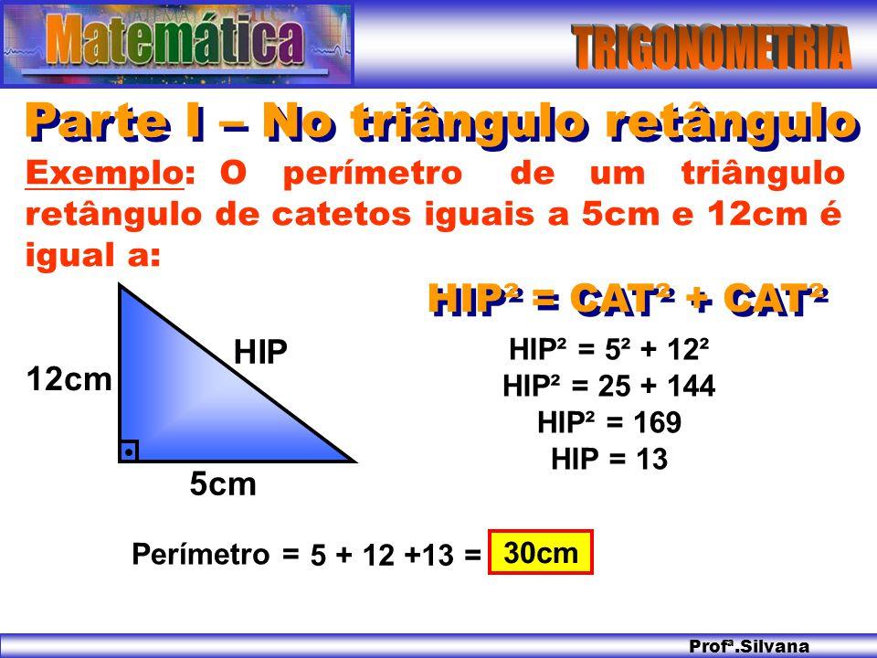 Profª.Silvana Parte I – No triângulo retângulo HIP² = CAT² + CAT² Exemplo: O perímetro de um triângulo retângulo de catetos iguais a 5cm e 12cm é igua