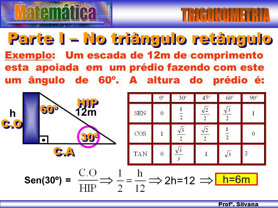 Profª. Silvana Parte I – No triângulo retângulo Exemplo: Um escada de 12m de comprimento esta apoiada em um prédio fazendo com este um ângulo de 60º.
