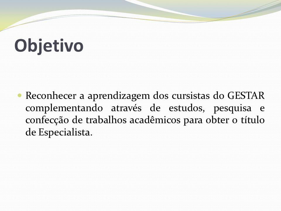 Objetivo Reconhecer a aprendizagem dos cursistas do GESTAR complementando através de estudos, pesquisa e confecção de trabalhos acadêmicos para obter