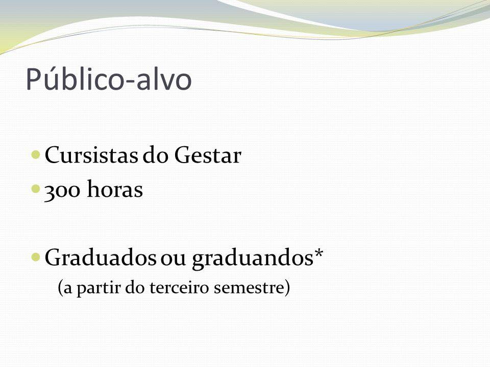 Público-alvo Cursistas do Gestar 300 horas Graduados ou graduandos* (a partir do terceiro semestre)