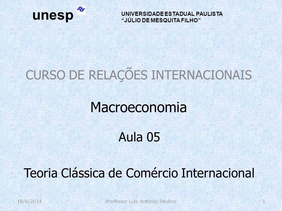 CURSO DE RELAÇÕES INTERNACIONAIS 18/6/2014Professor Luís Antonio Paulino1 Macroeconomia Aula 05 Teoria Clássica de Comércio Internacional unesp UNIVER