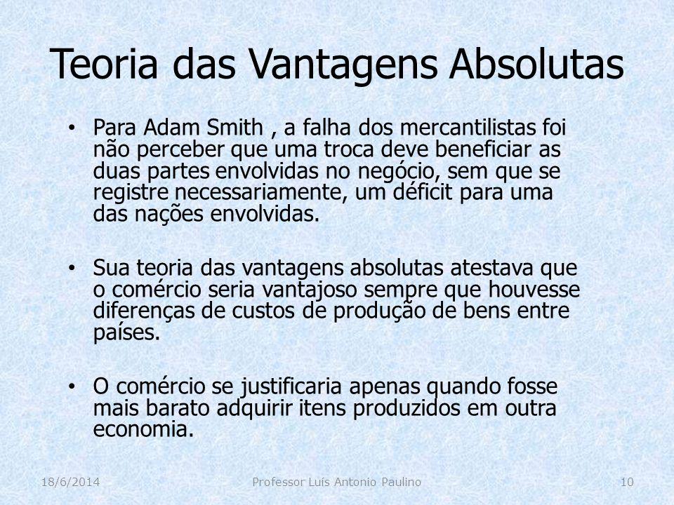 Teoria das Vantagens Absolutas Para Adam Smith, a falha dos mercantilistas foi não perceber que uma troca deve beneficiar as duas partes envolvidas no