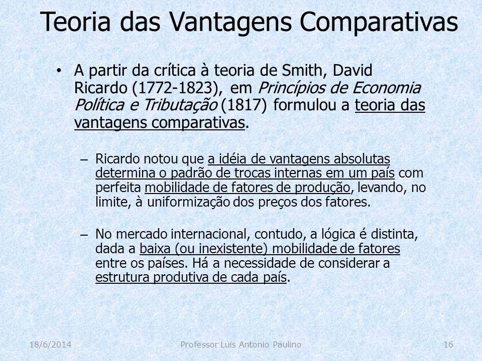 Teoria das Vantagens Comparativas A partir da crítica à teoria de Smith, David Ricardo (1772-1823), em Princípios de Economia Política e Tributação (1