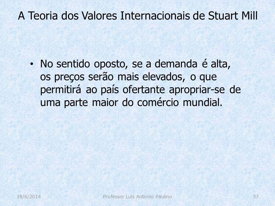 A Teoria dos Valores Internacionais de Stuart Mill No sentido oposto, se a demanda é alta, os preços serão mais elevados, o que permitirá ao país ofer