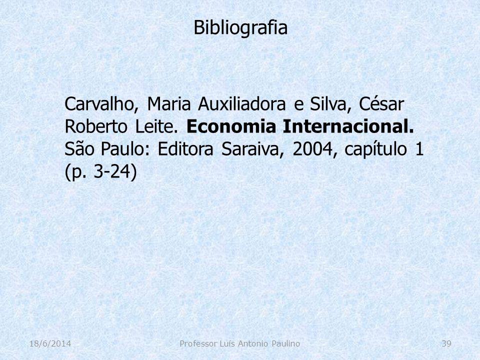 Bibliografia Carvalho, Maria Auxiliadora e Silva, César Roberto Leite. Economia Internacional. São Paulo: Editora Saraiva, 2004, capítulo 1 (p. 3-24)
