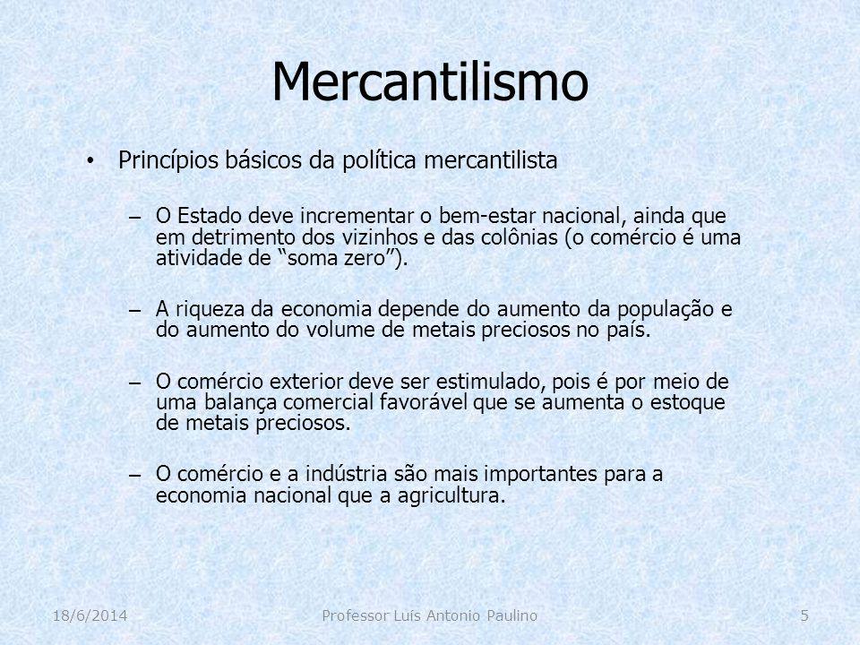 Mercantilismo Princípios básicos da política mercantilista – O Estado deve incrementar o bem-estar nacional, ainda que em detrimento dos vizinhos e da