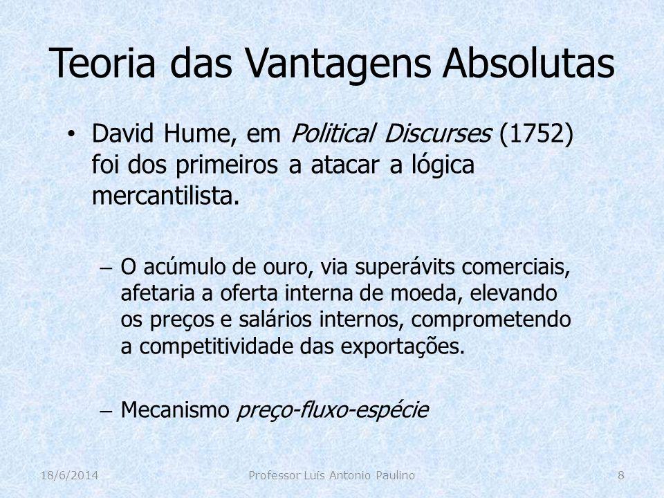 Teoria das Vantagens Absolutas David Hume, em Political Discurses (1752) foi dos primeiros a atacar a lógica mercantilista. – O acúmulo de ouro, via s