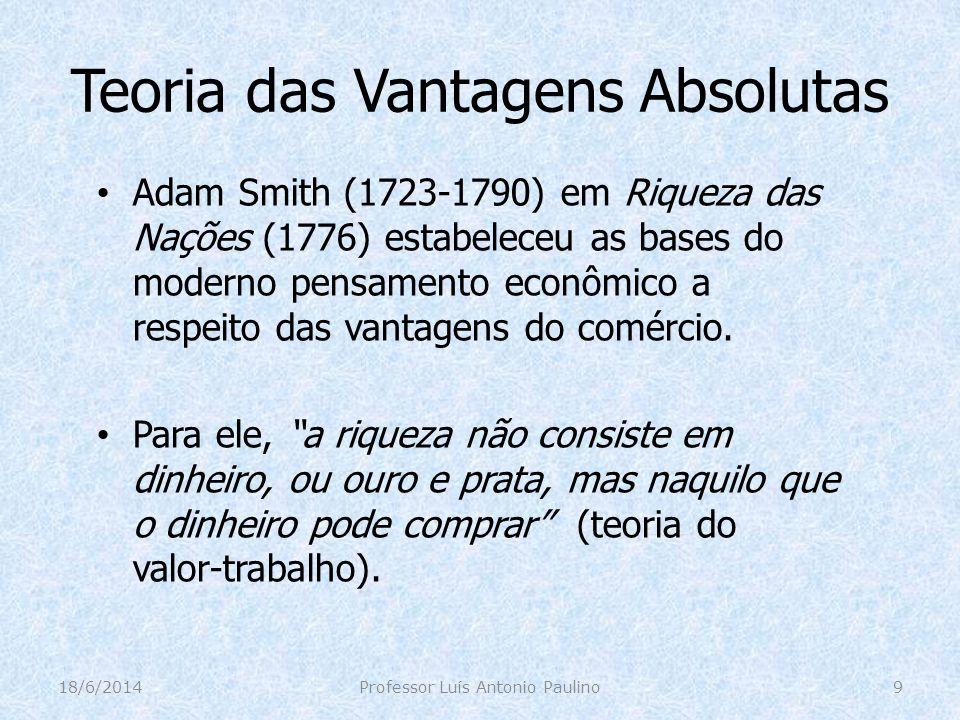 Teoria das Vantagens Absolutas Para Adam Smith, a falha dos mercantilistas foi não perceber que uma troca deve beneficiar as duas partes envolvidas no negócio, sem que se registre necessariamente, um déficit para uma das nações envolvidas.