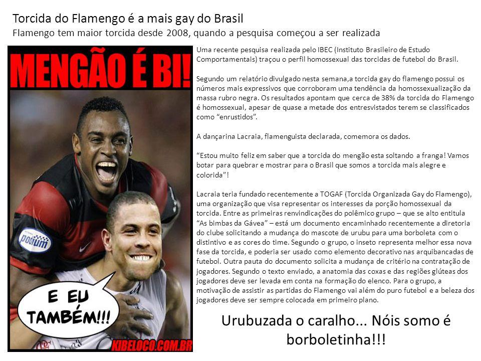Urubuzada o caralho... Nóis somo é borboletinha!!! Torcida do Flamengo é a mais gay do Brasil Flamengo tem maior torcida desde 2008, quando a pesquisa