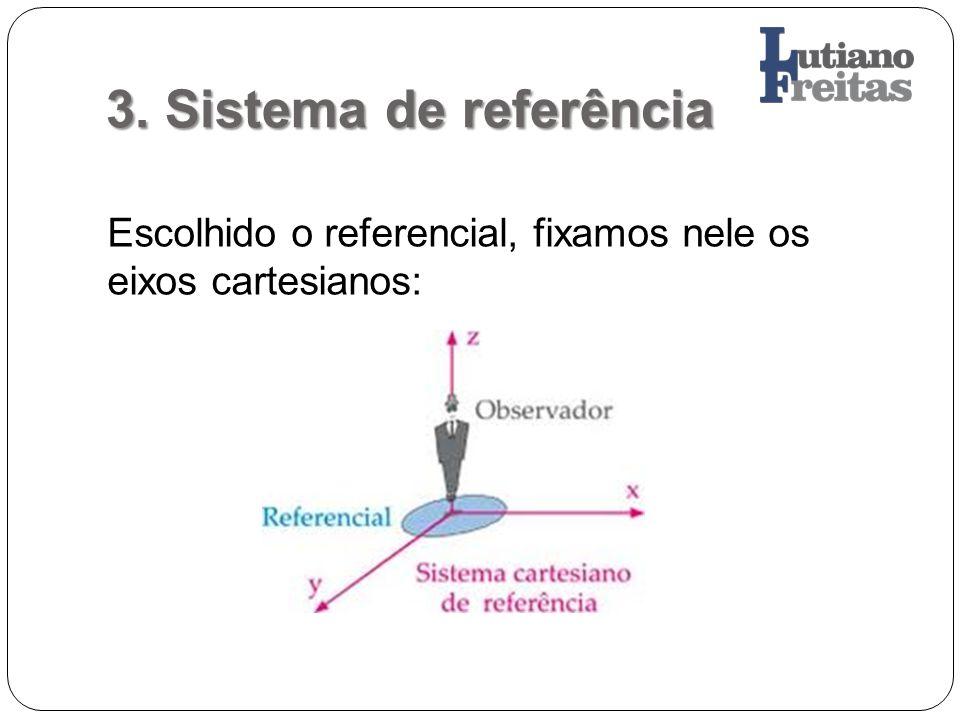 3. Sistema de referência Escolhido o referencial, fixamos nele os eixos cartesianos: