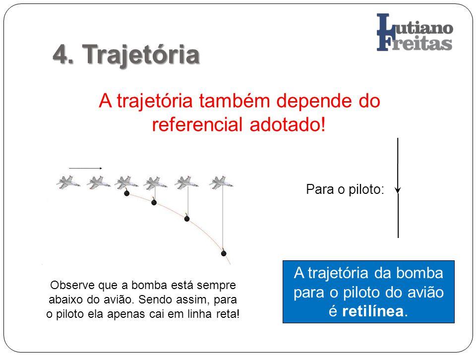 4. Trajetória A trajetória também depende do referencial adotado! A trajetória da bomba para o piloto do avião é retilínea. Observe que a bomba está s