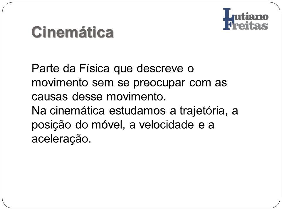 Cinemática Parte da Física que descreve o movimento sem se preocupar com as causas desse movimento. Na cinemática estudamos a trajetória, a posição do
