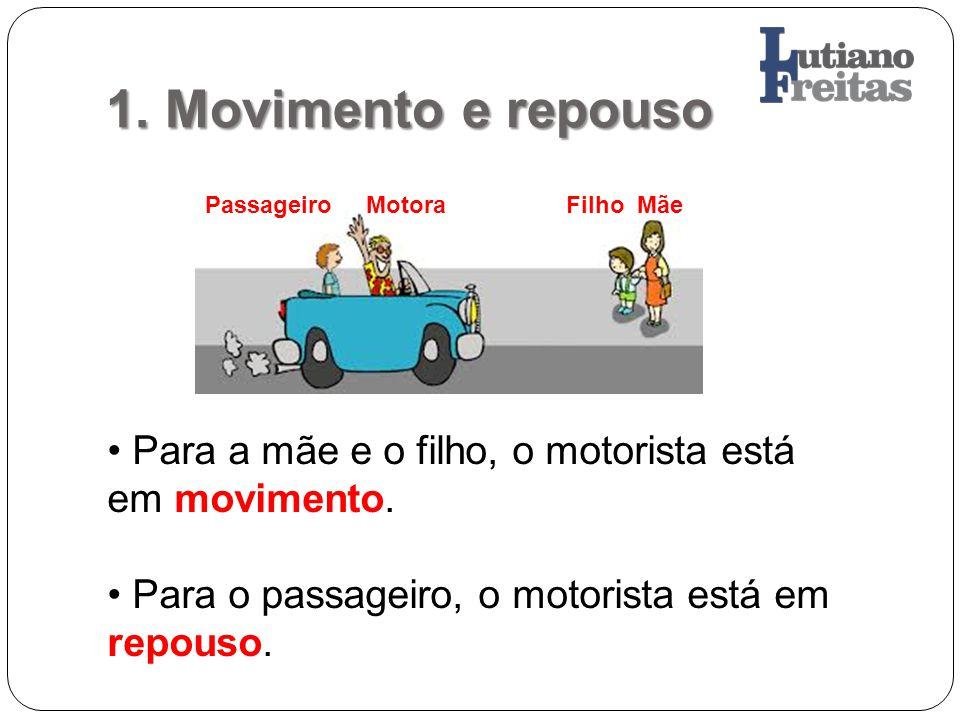 1. Movimento e repouso Passageiro Motora Filho Mãe Para a mãe e o filho, o motorista está em movimento. Para o passageiro, o motorista está em repouso
