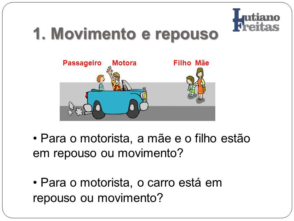 1. Movimento e repouso Passageiro Motora Filho Mãe Para o motorista, a mãe e o filho estão em repouso ou movimento? Para o motorista, o carro está em