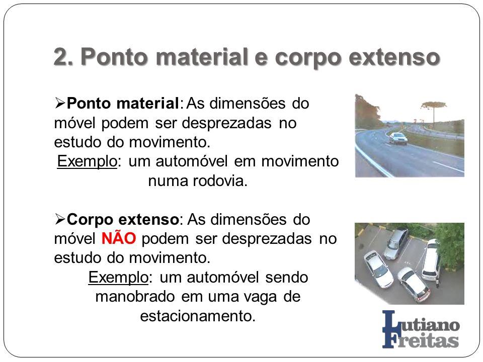2. Ponto material e corpo extenso Ponto material: As dimensões do móvel podem ser desprezadas no estudo do movimento. Exemplo: um automóvel em movimen