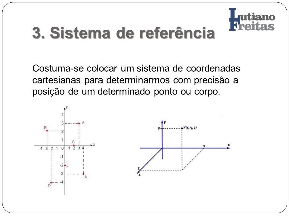 3. Sistema de referência Costuma-se colocar um sistema de coordenadas cartesianas para determinarmos com precisão a posição de um determinado ponto ou