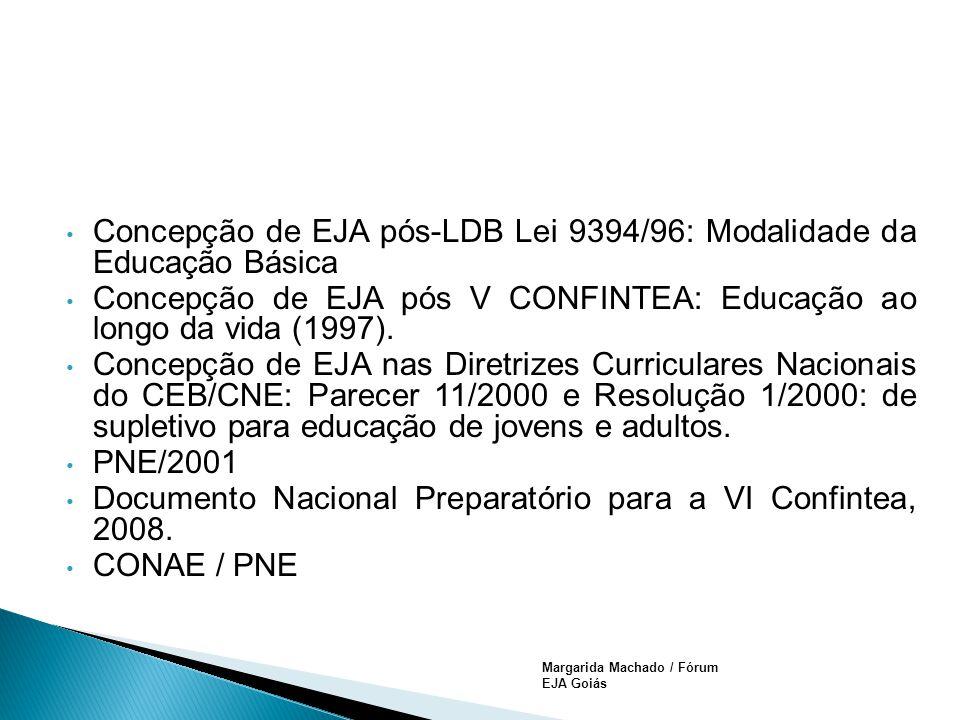 Margarida Machado / Fórum EJA Goiás Concepção de EJA pós-LDB Lei 9394/96: Modalidade da Educação Básica Concepção de EJA pós V CONFINTEA: Educação ao longo da vida (1997).