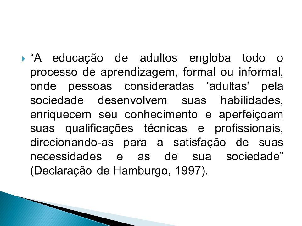 A educação de adultos engloba todo o processo de aprendizagem, formal ou informal, onde pessoas consideradas adultas pela sociedade desenvolvem suas habilidades, enriquecem seu conhecimento e aperfeiçoam suas qualificações técnicas e profissionais, direcionando-as para a satisfação de suas necessidades e as de sua sociedade (Declaração de Hamburgo, 1997).