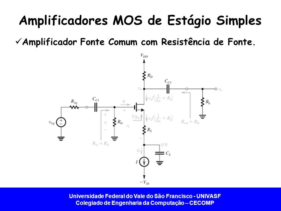 Universidade Federal do Vale do São Francisco - UNIVASF Colegiado de Engenharia da Computação – CECOMP Amplificador Fonte Comum com Resistência de Fonte.