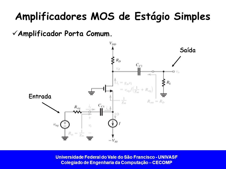 Universidade Federal do Vale do São Francisco - UNIVASF Colegiado de Engenharia da Computação – CECOMP Amplificador Porta Comum. Amplificadores MOS de