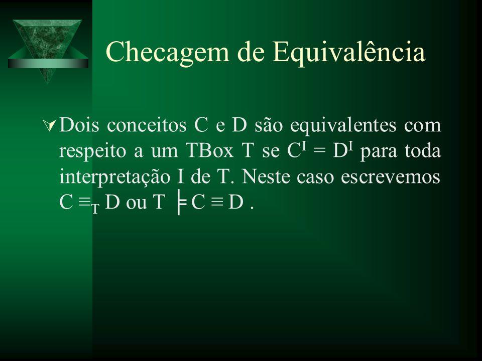 Dois conceitos C e D são equivalentes com respeito a um TBox T se C I = D I para toda interpretação I de T. Neste caso escrevemos C T D ou T C D. Chec