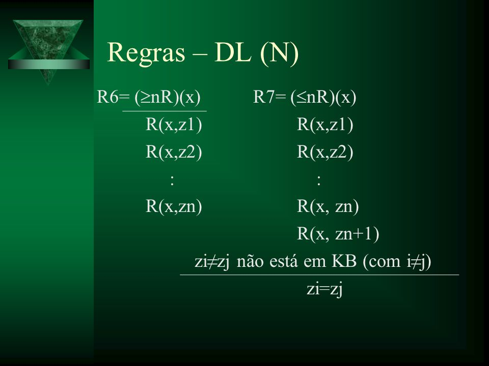 R6= ( nR)(x) R7= ( nR)(x) R(x,z1) R(x,z2) : R(x,zn) R(x, zn) R(x, zn+1) zizj não está em KB (com ij) zi=zj Regras – DL (N)