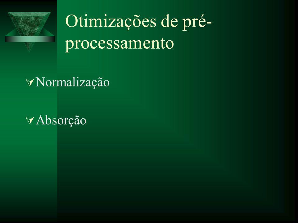 Otimizações de pré- processamento Normalização Absorção