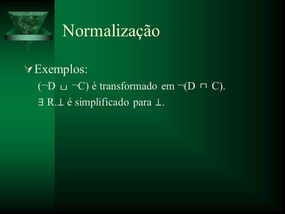 Normalização Exemplos: (¬D ¬C) é transformado em ¬(D C). R. é simplificado para.