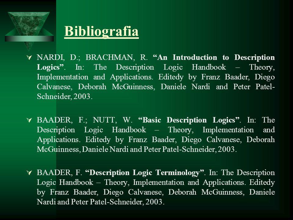 Bibliografia NARDI, D.; BRACHMAN, R. An Introduction to Description Logics. In: The Description Logic Handbook – Theory, Implementation and Applicatio