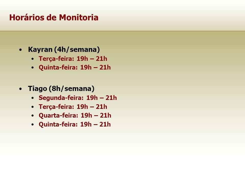 Horários de Monitoria Kayran (4h/semana) Terça-feira: 19h – 21h Quinta-feira: 19h – 21h Tiago (8h/semana) Segunda-feira: 19h – 21h Terça-feira: 19h –