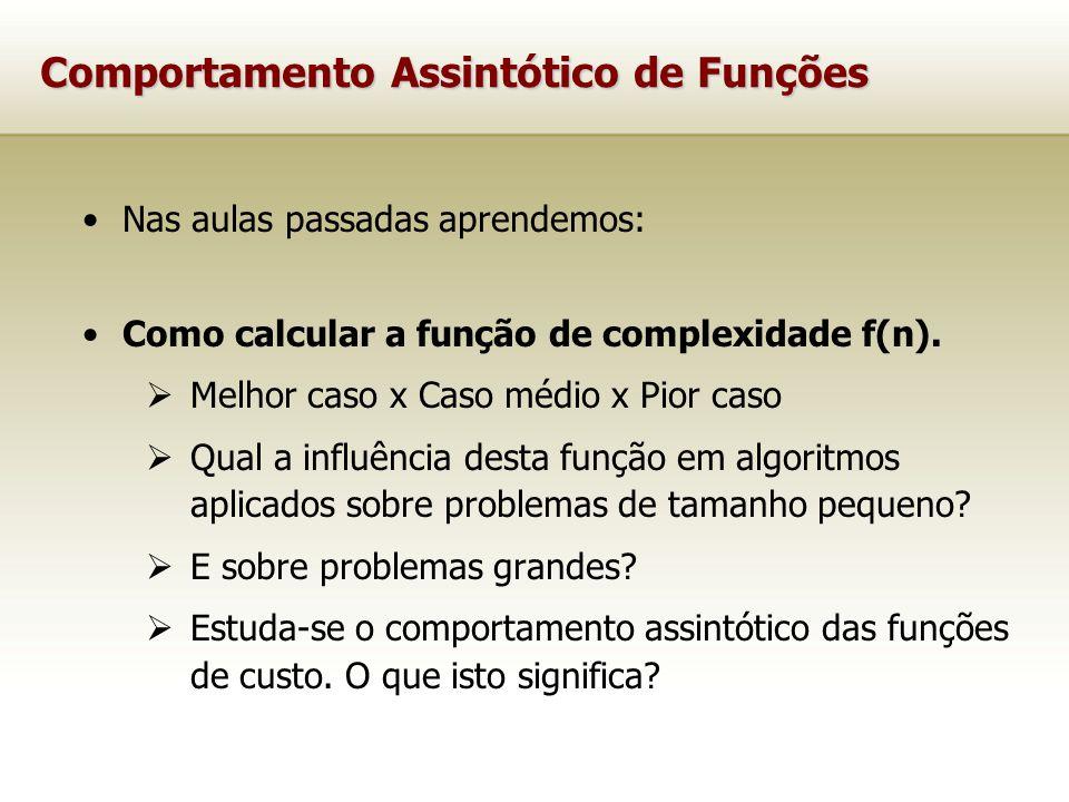 Comportamento Assintótico de Funções Nas aulas passadas aprendemos: Como calcular a função de complexidade f(n). Melhor caso x Caso médio x Pior caso