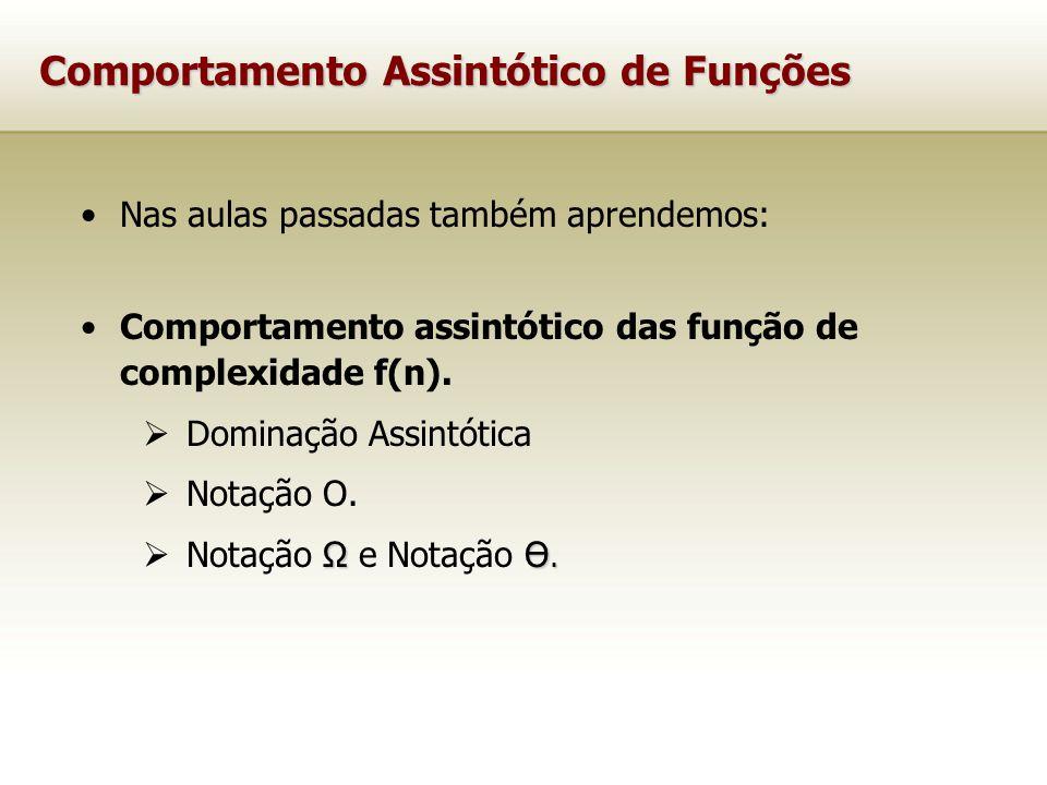 Comportamento Assintótico de Funções Nas aulas passadas também aprendemos: Comportamento assintótico das função de complexidade f(n). Dominação Assint