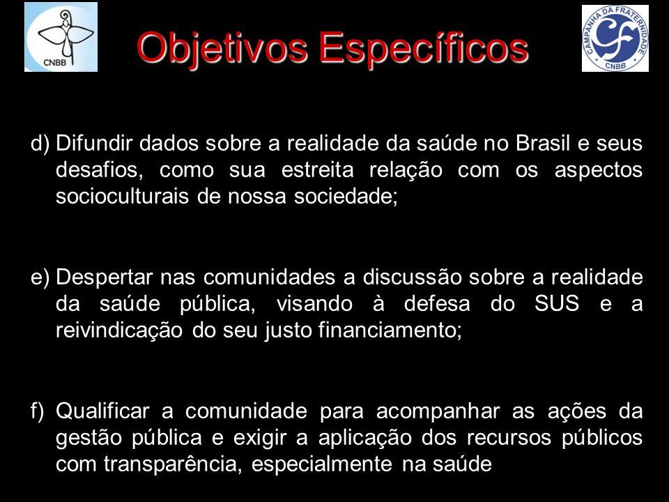 Objetivos Específicos d)Difundir dados sobre a realidade da saúde no Brasil e seus desafios, como sua estreita relação com os aspectos socioculturais