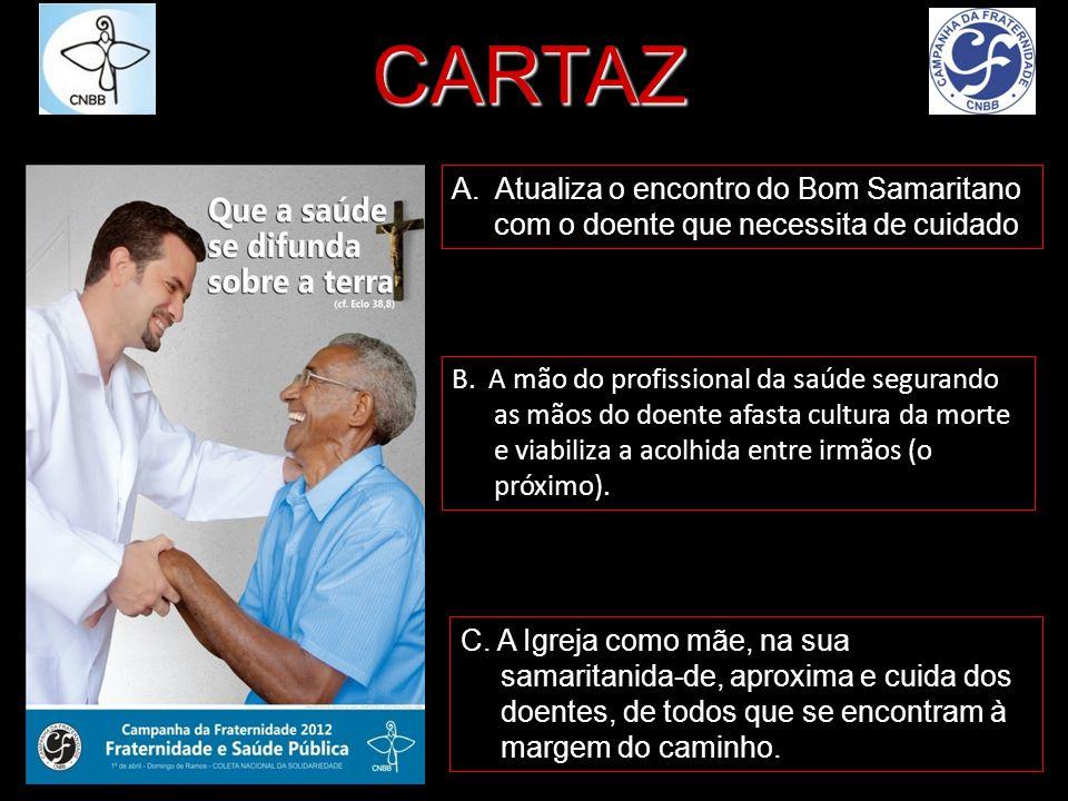 A. Atualiza o encontro do Bom Samaritano com o doente que necessita de cuidado B. A mão do profissional da saúde segurando as mãos do doente afasta cu