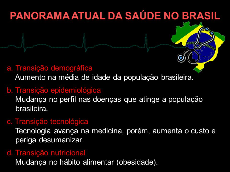 a.Transição demográfica Aumento na média de idade da população brasileira. b. Transição epidemiológica Mudança no perfil nas doenças que atinge a popu