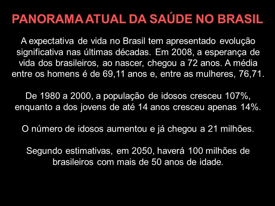 A expectativa de vida no Brasil tem apresentado evolução significativa nas últimas décadas. Em 2008, a esperança de vida dos brasileiros, ao nascer, c