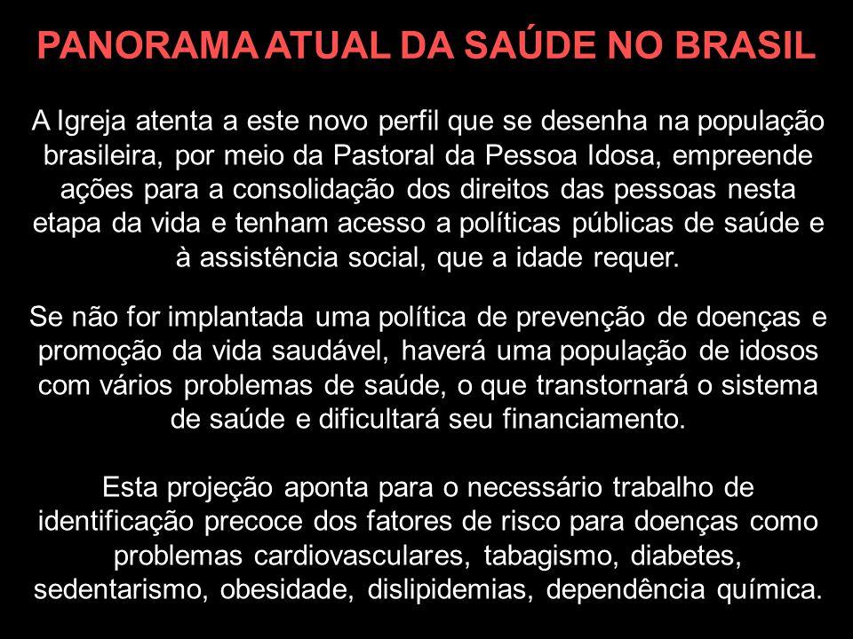 A Igreja atenta a este novo perfil que se desenha na população brasileira, por meio da Pastoral da Pessoa Idosa, empreende ações para a consolidação d