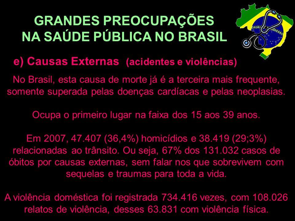GRANDES PREOCUPAÇÕES NA SAÚDE PÚBLICA NO BRASIL e) Causas Externas (acidentes e violências) No Brasil, esta causa de morte já é a terceira mais freque