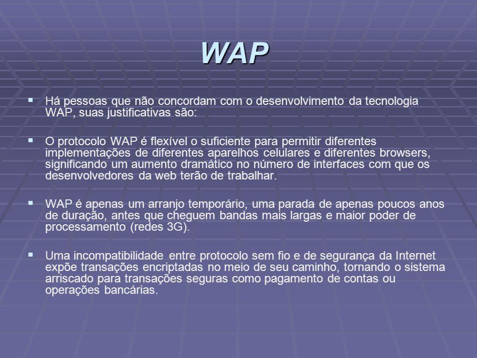 Há pessoas que não concordam com o desenvolvimento da tecnologia WAP, suas justificativas são: O protocolo WAP é flexível o suficiente para permitir d