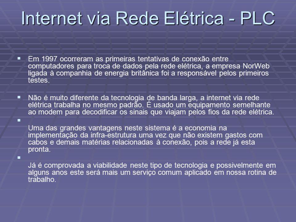 Internet via Rede Elétrica - PLC Em 1997 ocorreram as primeiras tentativas de conexão entre computadores para troca de dados pela rede elétrica, a emp