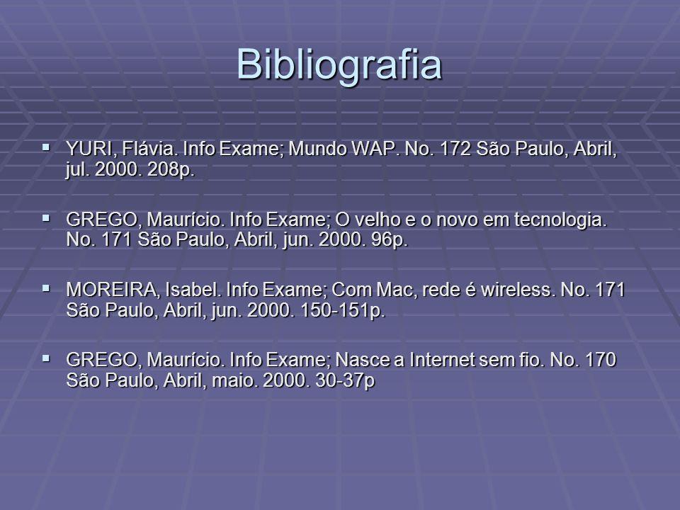 Bibliografia YURI, Flávia. Info Exame; Mundo WAP. No. 172 São Paulo, Abril, jul. 2000. 208p. YURI, Flávia. Info Exame; Mundo WAP. No. 172 São Paulo, A