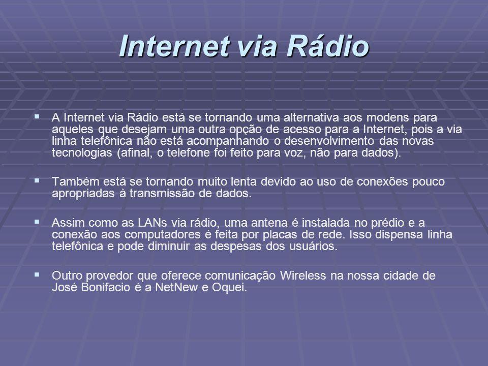 Internet via Rádio A Internet via Rádio está se tornando uma alternativa aos modens para aqueles que desejam uma outra opção de acesso para a Internet
