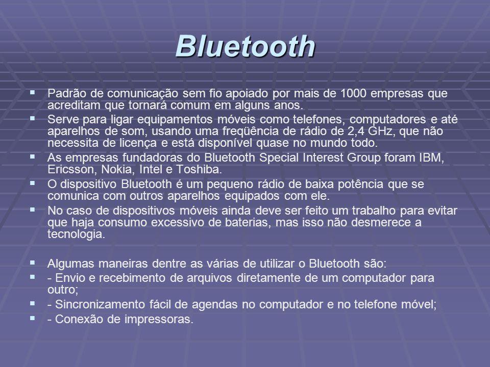 Bluetooth Padrão de comunicação sem fio apoiado por mais de 1000 empresas que acreditam que tornará comum em alguns anos. Serve para ligar equipamento