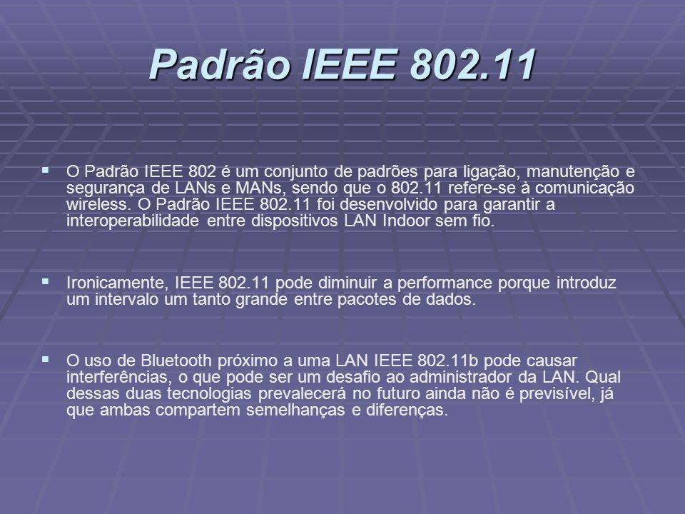 Padrão IEEE 802.11 O Padrão IEEE 802 é um conjunto de padrões para ligação, manutenção e segurança de LANs e MANs, sendo que o 802.11 refere-se à comu