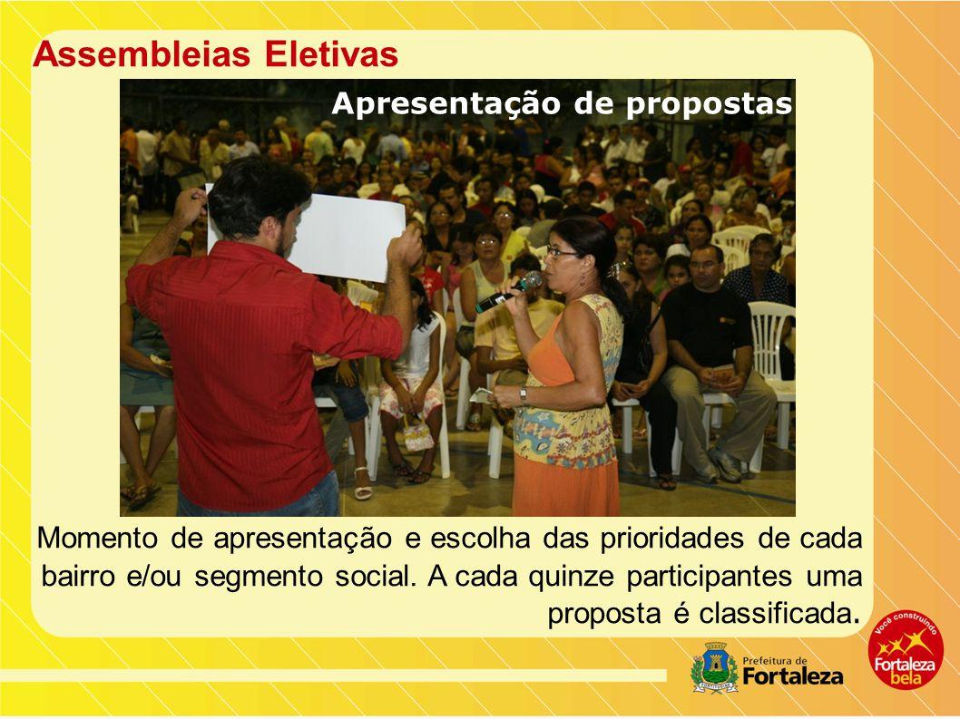 Assembleias Eletivas Momento de apresentação e escolha das prioridades de cada bairro e/ou segmento social.