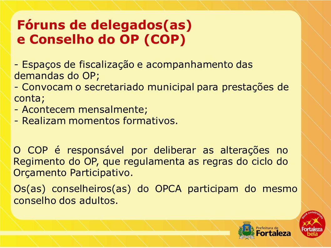 Fóruns de delegados(as) e Conselho do OP (COP) Os(as) conselheiros(as) do OPCA participam do mesmo conselho dos adultos.