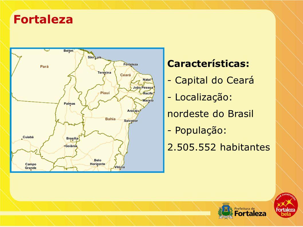 Fortaleza Características: - Capital do Ceará - Localização: nordeste do Brasil - População: 2.505.552 habitantes