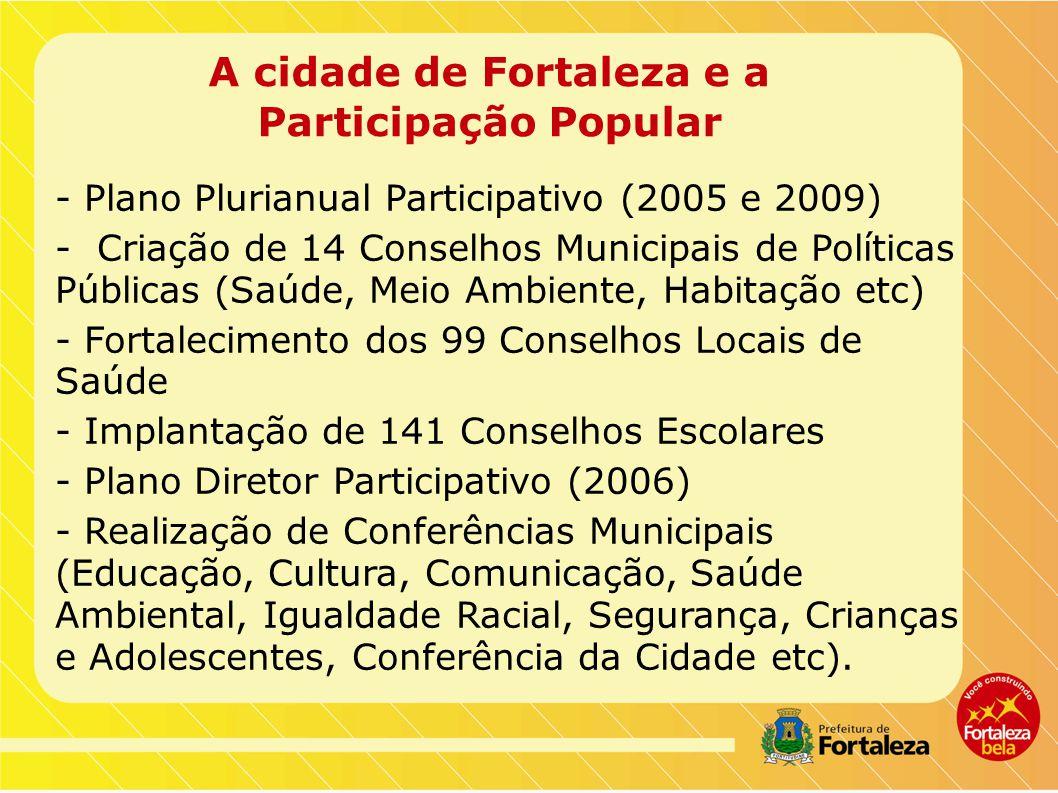 A cidade de Fortaleza e a Participação Popular - Plano Plurianual Participativo (2005 e 2009) - Criação de 14 Conselhos Municipais de Políticas Públicas (Saúde, Meio Ambiente, Habitação etc) - Fortalecimento dos 99 Conselhos Locais de Saúde - Implantação de 141 Conselhos Escolares - Plano Diretor Participativo (2006) - Realização de Conferências Municipais (Educação, Cultura, Comunicação, Saúde Ambiental, Igualdade Racial, Segurança, Crianças e Adolescentes, Conferência da Cidade etc).